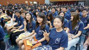 SHEAC freshmen at the University Convocation. 東亞書院新生參加大學開學典禮。