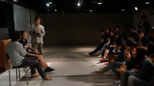 Interpreting the roles in the drama about poverty at the Oxfam's Interactive Education Centre. 同學投入演繹樂施會互動劇場內的角色。
