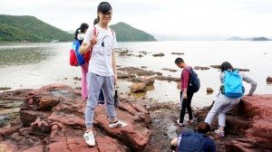 Students felt very excited to see different geological features along the coast of northeastern Hong Kong. 同學們看到香港東北海岸不同的地質特徵感到很興奮。